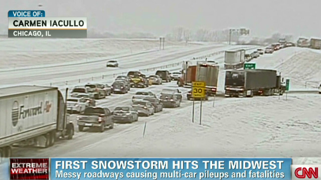 First snowstorm hits the Midwest