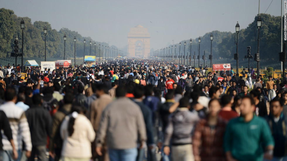 Indian demonstrators march towards India Gate during the protest on December 22.