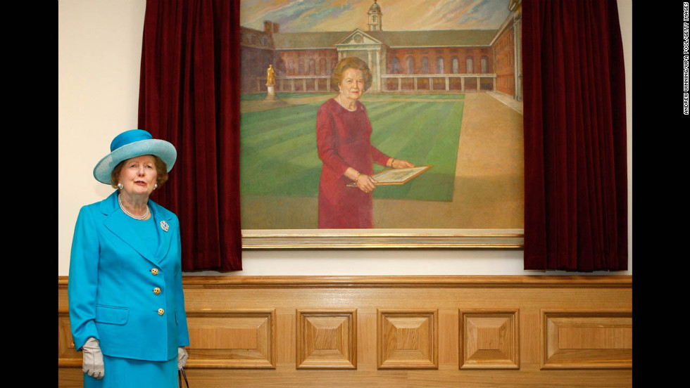 The ex-prime minister helps unveil a portrait of herself at the opening of the Margaret Thatcher Infirmary at the Royal Hospital Chelsea in London in March 2009.