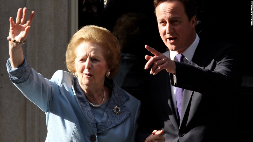 "<a href=""http://www.cnn.com/2013/04/08/world/europe/uk-margaret-thatcher-dead/"">Margaret Thatcher</a>, the first woman to become British prime minister, has died at 87 after a stroke, a spokeswoman said Monday, April 8. <a href=""http://www.cnn.com/2013/04/08/world/europe/margaret-thatcher-icon-outcast/"">Known as the ""Iron Lady,""</a> Thatcher, as Conservative Party leader, was prime minister from 1979 to 1990. Here she visits British Prime Minister David Cameron at 10 Downing Street in London in June 2010."