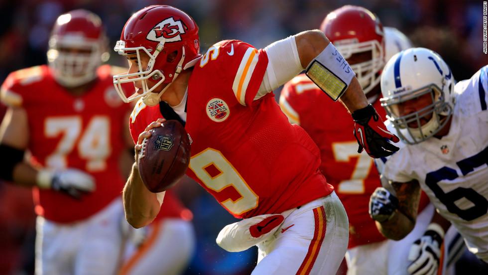 Quarterback Brady Quinn of the Kansas City Chiefs scrambles against the Indianapolis Colts at Arrowhead Stadium on Sunday in Kansas City, Missouri.