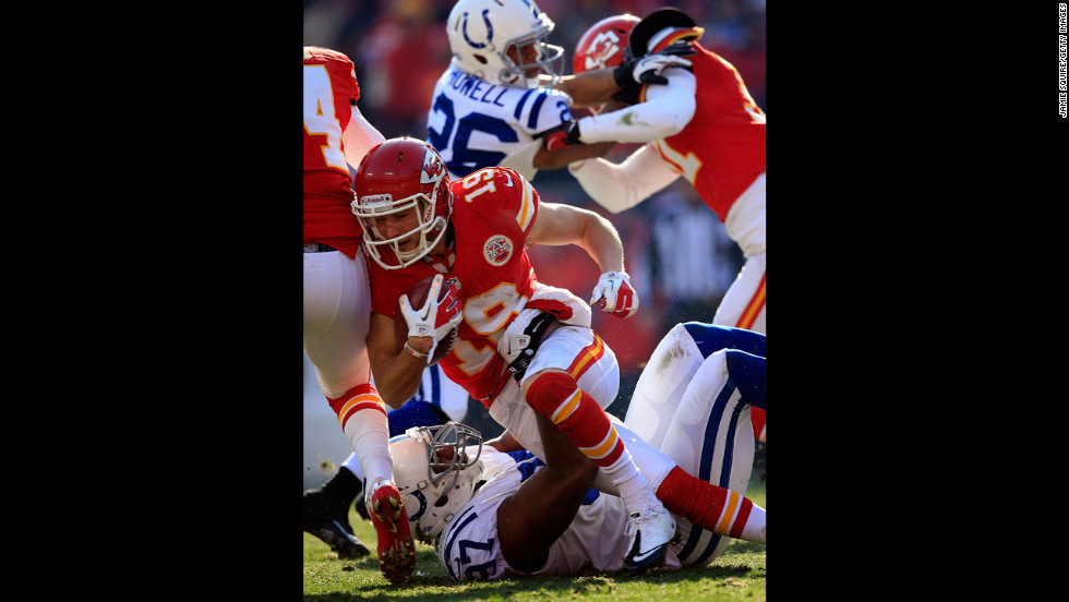 Wide receiver Devon Wylie of the Chiefs is stopped by linebacker Jamaal Westerman of the Colts on Sunday.