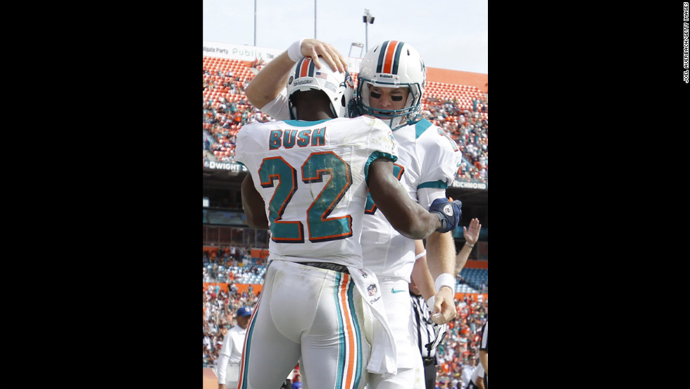 Ryan Tannehill congratulates Reggie Bush of the Dolphins after he scored his first touchdown of the game against the Bills on Sunday.