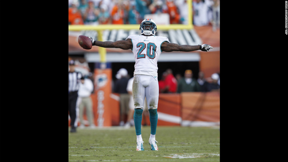 Reshad Jones of the Dolphins celebrates after intercepting a pass by Ryan Fitzpatrick of the Bills late in the fourth quarter on Sunday.