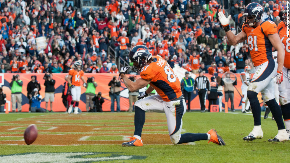 Wide receiver Eric Decker of the Denver Broncos celebrates a touchdown reception against the Cleveland Browns on Sunday in Denver.