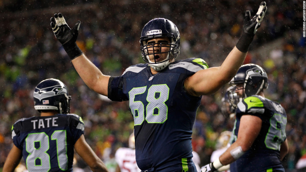 Breno Giacomini of the Seattle Seahawks celebrates after Marshawn Lynch scores a touchdown on Sunday.