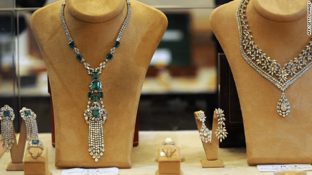 Jewellery once belonged to the family of ousted Tunisian dictator Zine El Abidine Ben Ali on displayed at an auction in the Tunis suburb of Gammarth on December 22, 2012.