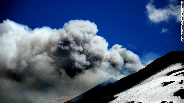View of the Copahue volcano spewing ashes, in Copahue, Chile, on December 23, 2012.
