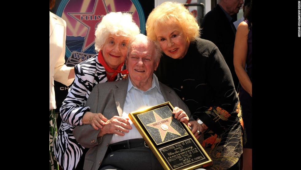 Durning poses with Charlotte Rae, left, and Doris Roberts, right, while being honored with a star on the Hollywood Walk of Fame on July 31, 2008.