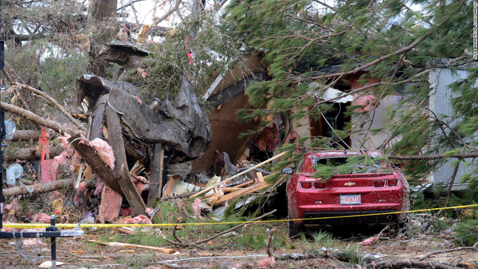 These homes were destroyed by a tornado in the Brantley Mobile Home Park near Troy, Alabama, on December 26.