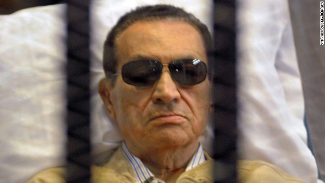 A picture dated on June 2, 2012 shows ousted Egyptian president Hosni Mubarak siting inside a cage in a courtroom during his verdict hearing in Cairo.
