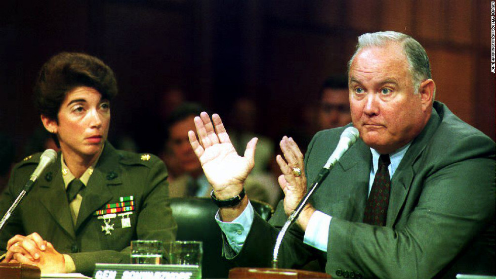Schwarzkopf testifies before the Senate Armed Services Committee on May 11, 1993, alongside Maj. Kathleen Bergeron of the U.S. Marine Corps. Schwarzkopf and Bergeron defended the ban on gays in the military.