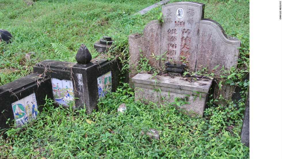 A Chinese grave in Bukit Brown cemetery is seen with decorative tile on December 22.