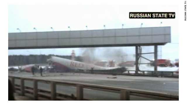 A plane lies striken at Moscow's Vnukovo airport in this image from Russian state TV.