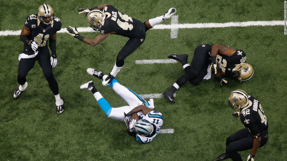Brandon LaFell of the Carolina Panthers makes a reception against the New Orleans Saints at the Mercedes-Benz Superdome in New Orleans on Sunday.