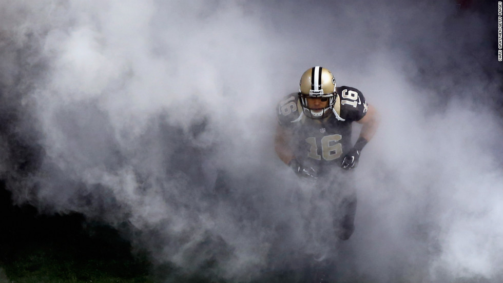 Lance Moore of the New Orleans Saints is introduced before playing the Carolina Panthers on Sunday.