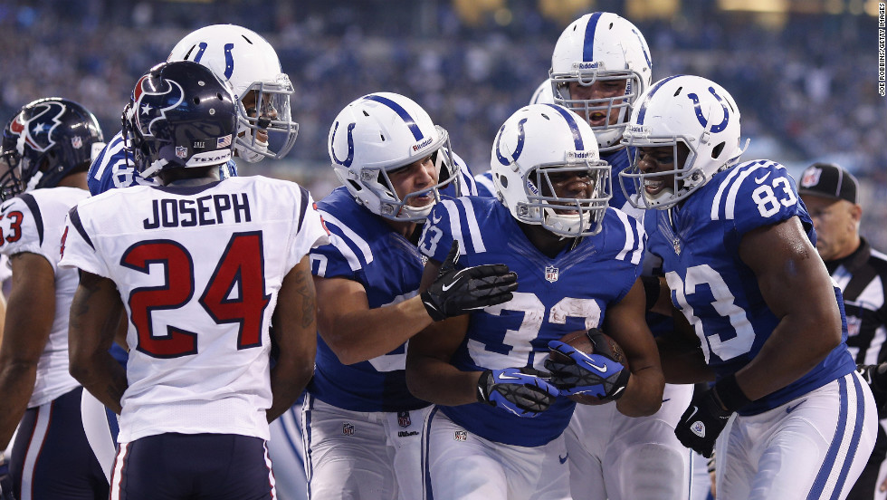 Vick Ballard of the Indianapolis Colts celebrates after rushing for a one-yard touchdown against the Houston Texans on Sunday.
