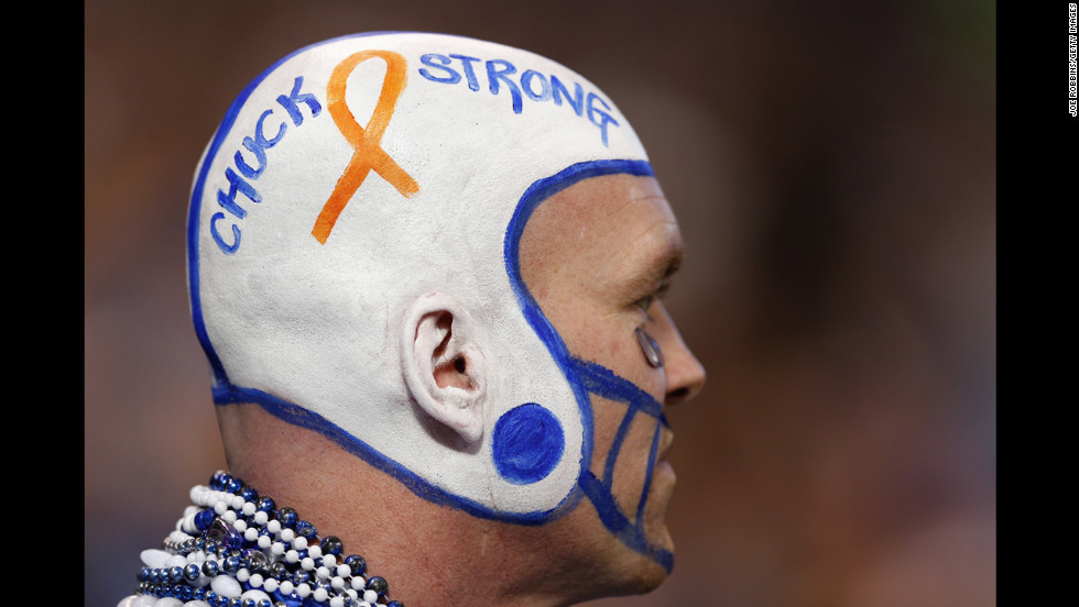 An Indianapolis Colts fan shows his support for head coach Chuck Pagano during the game against the Houston Texans on Sunday. Pagano has been sidelined on medical leave for three months with leukemia.