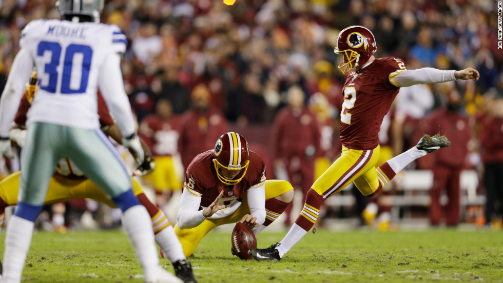 Kicker Kai Forbath of the Washington Redskins misses a field goal attempt on Sunday against the Dallas Cowboys.