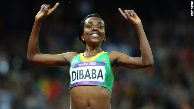 Tirunesh Dibaba takes gold in the 10,000m at the London Olympics Games in 2012.