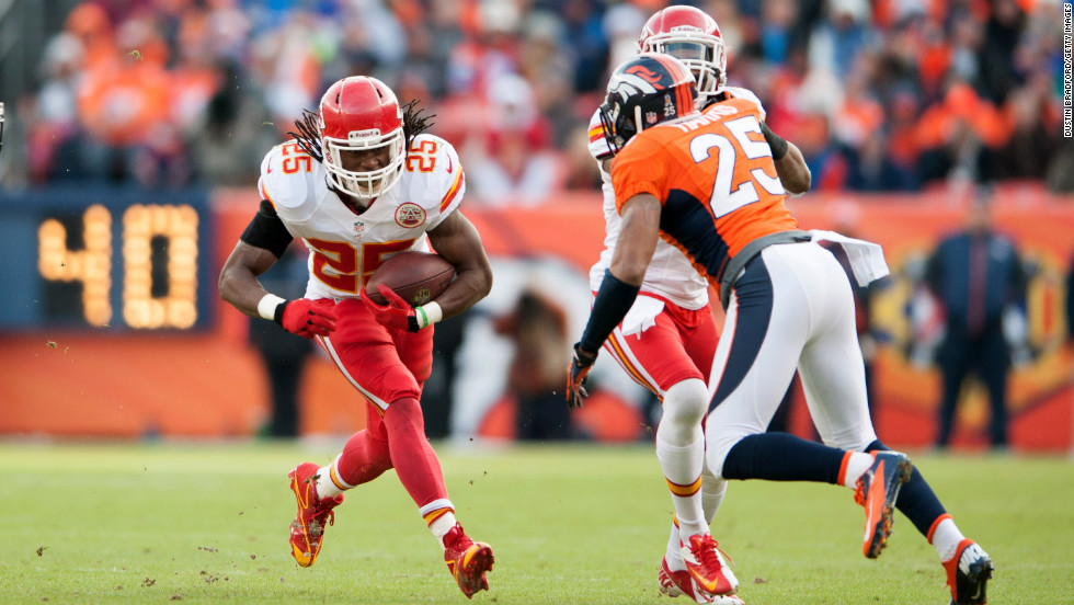 Jamaal Charles of the Kansas City Chiefs rushes against the Denver Broncos on Sunday.