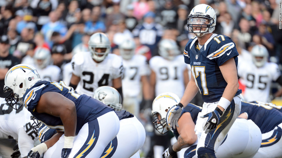 Philip Rivers of the San Diego Chargers calls a play at the line during the game against the Oakland Raiders at Qualcomm Stadium on Sunday in San Diego.