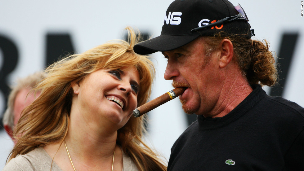 Jimenez with ex-wife Monserrat after winning the European Tour's flagship PGA Championship event in 2008.