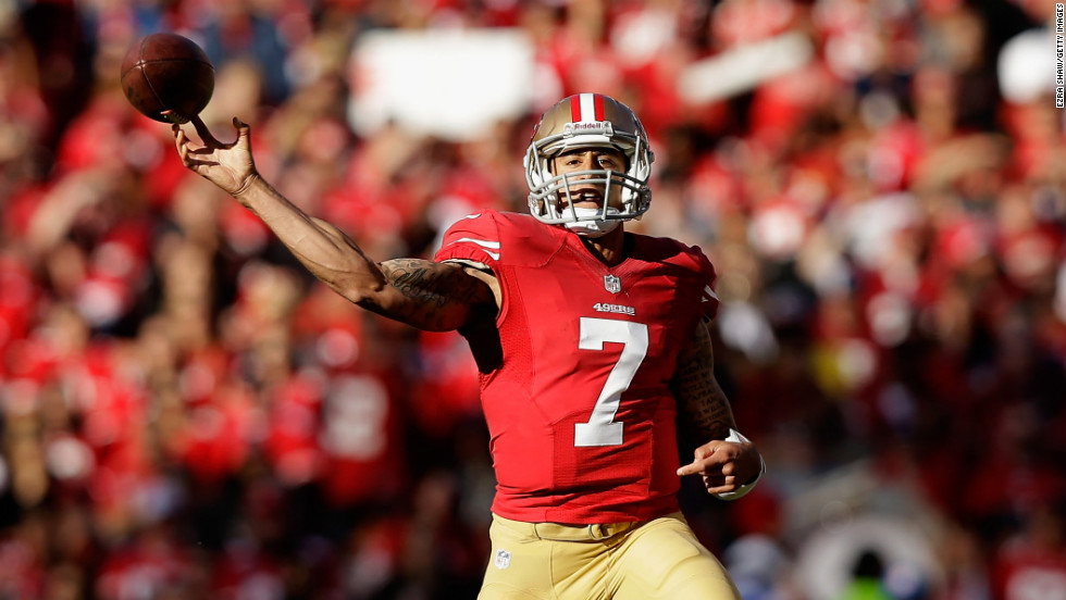 Colin Kaepernick of the San Francisco 49ers throws the ball on Sunday.
