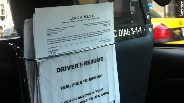 Jack Alvo keeps his resumes in the back seat of his cab, hoping a passenger will help him land a job in finance again.