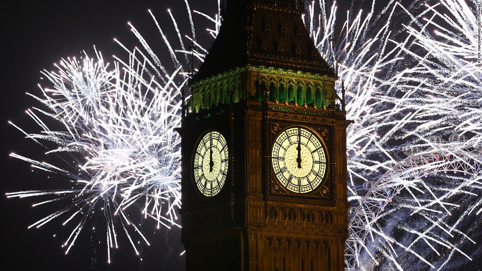 Fireworks light up the London skyline and Big Ben just after midnight Tuesday morning.