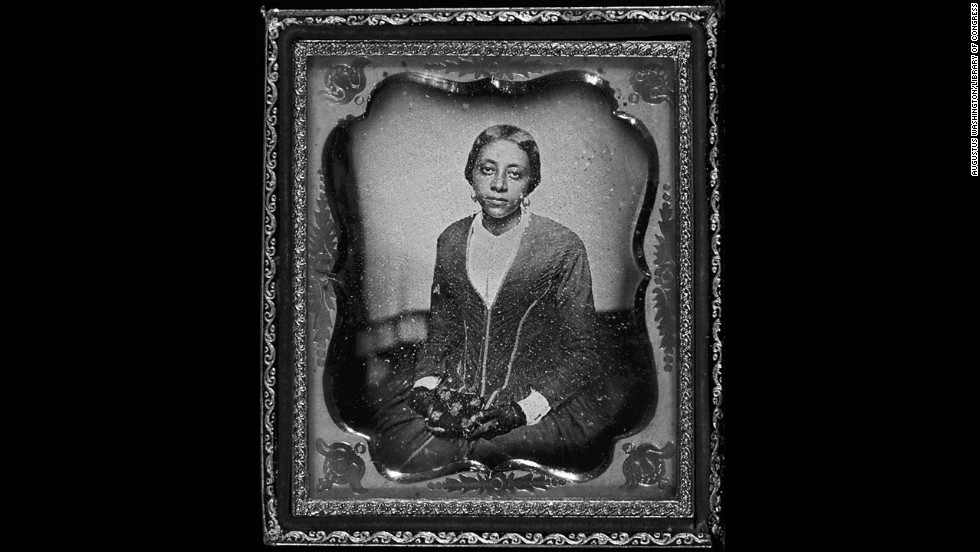This woman is believed to be Sarah McGill Russwurm, sister of Urias A. McGill and widow of John Russwurm, in 1854. John Russwurm helped start Freedom's Journal, the first black-owned and operated newspaper in the United States.