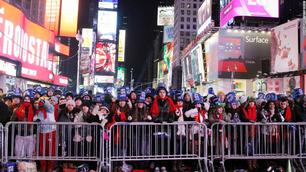 People gather in New York's Times Square to celebrate.