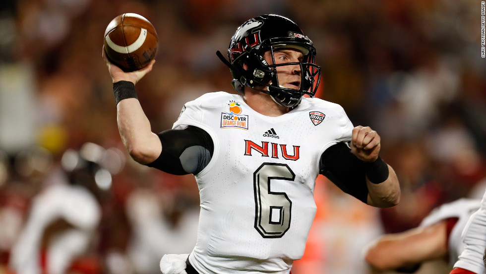 Jordan Lynch of the Northern Illinois Huskies throws a pass in the first half against the Florida State Seminoles on January 1.
