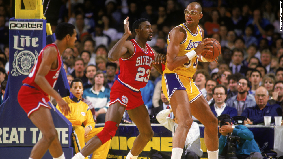 Abdul-Jabbar, No. 33, found transitioning from player to private citizen a challenge. Here, he posts up during a game against the Philadelphia 76ers in 1987.