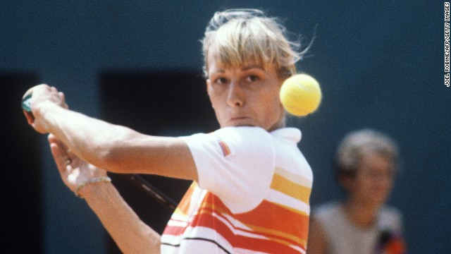 Martina Navratilova hits a backhand to her fellow countrywoman Andrea Jaeger during the final of the French Tennis Open at the Roland Garros stadium in Paris in1982