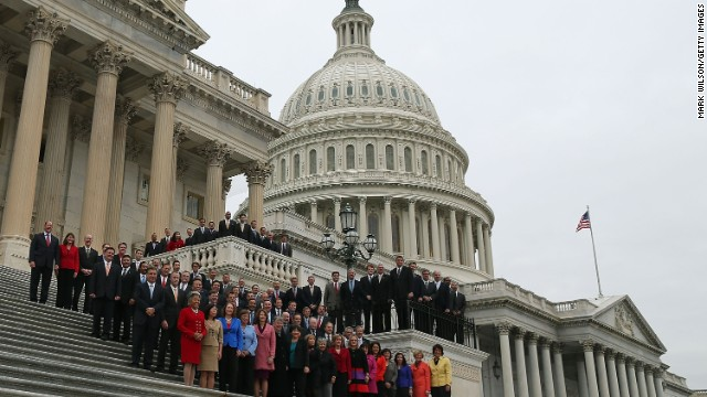WASHINGTON, DC - NOVEMBER 15: Congressional freshmen of the 113th Congress pose for a class picture on the steps of the U.S. Capitol on November 15, 2012 in Washington DC. The freshmen have arrived on Capitol Hill for orientation this week. The 109th Congress will officially begin in January, next year. (Photo by Mark Wilson/Getty Images)