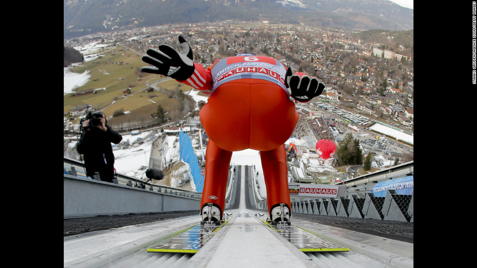 Dimitry Vassiliev of Russia begins his run on Tuesday, January 1, in Garmisch-Partenkirchen, Germany.