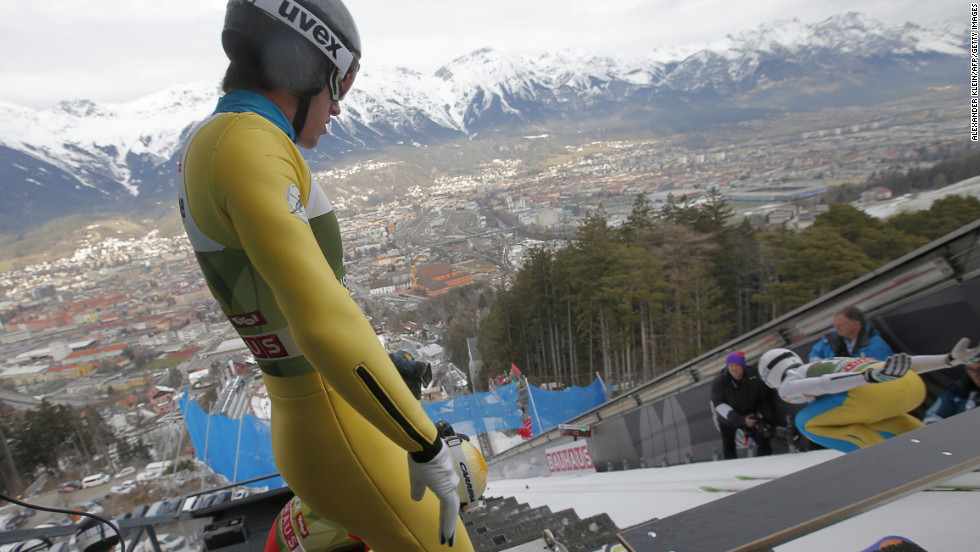 Anders Johnson of the United States waits his turn for a training jump on January 3.