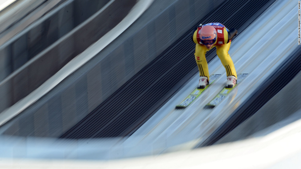 Michael Neumayer of Germany approaches his jump in the qualification round on December 31.