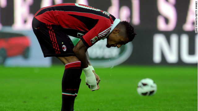 AC Milan midfielder Kevin Prince-Boateng walked off the pitch after being racially abused during his side's friendly at Pro Patria.