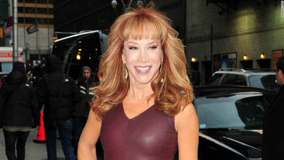 "Kathy Griffin pauses for photographers on her way to ""Late Show with David Letterman"" on January 2."