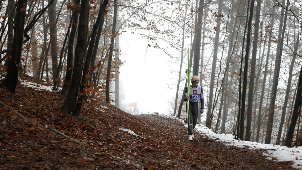 Austria's Andreas Kofler walks to the starting area on January 5.