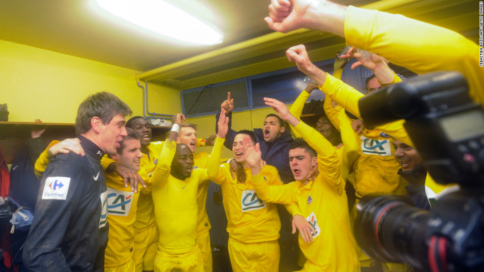 The Epinal players continued their celebrations in the changing rooms after defeating the seven-time Ligue 1 champion. The minnow had led 2-0 at one stage before finishing the 90 minutes at 3-3.