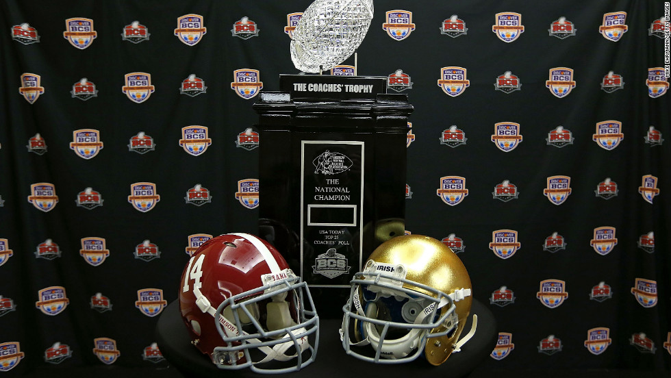 """The Coaches' Trophy is up for grabs when No. 1 Notre Dame meets No. 2 Alabama in the <a href=""""http://sportsillustrated.cnn.com/college-football/news/20130101/alabama-notre-dame-bcs-preview-hub/"""" target=""""_blank"""">Discover BCS National Championship</a> game Monday night in Miami."""