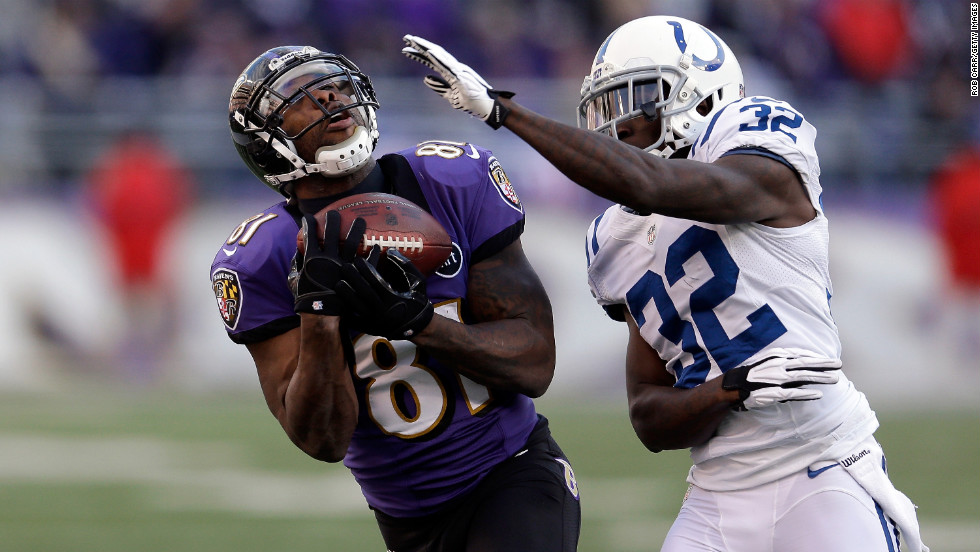 Anquan Boldin of the Baltimore Ravens makes a reception in the third quarter against Cassius Vaughn of the Indianapolis Colts on Sunday.