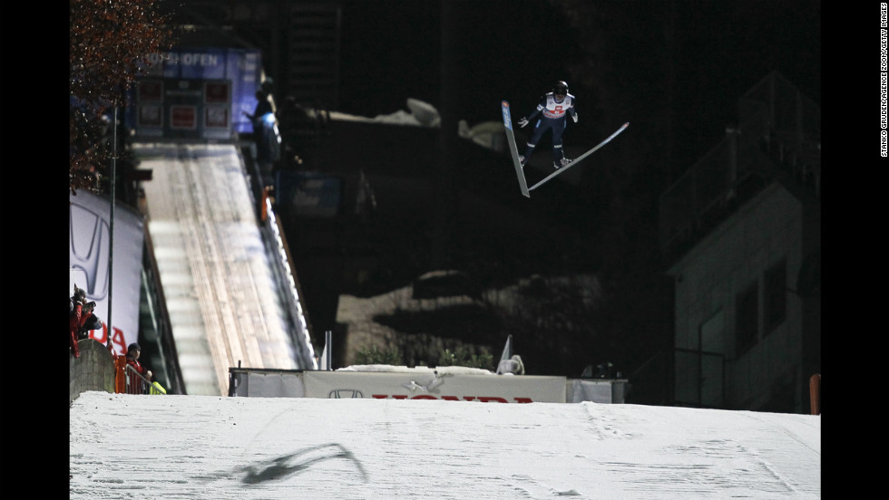 Anders Jacobsen of Norway, who took second place, jumps on Sunday.