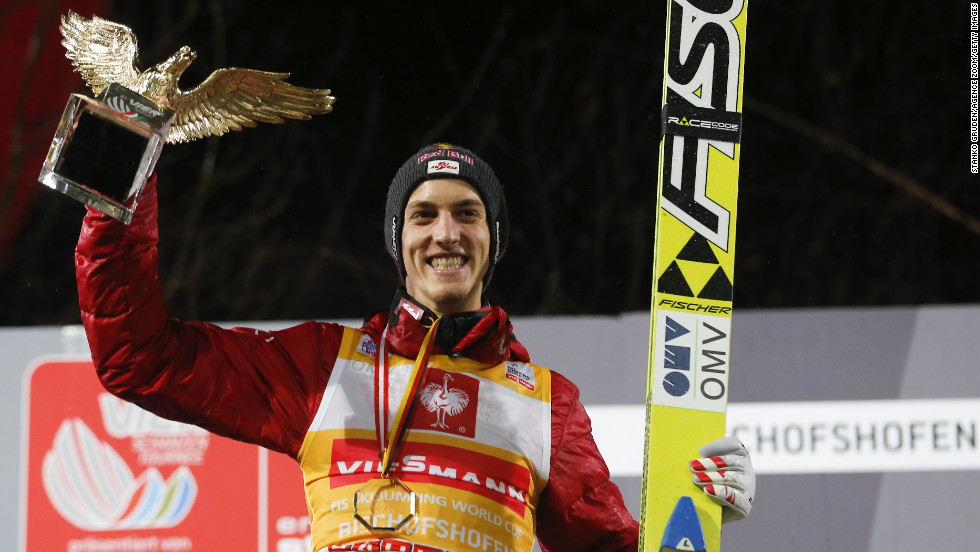 Gregor Schlierenzauer of Austria takes first place on Sunday.