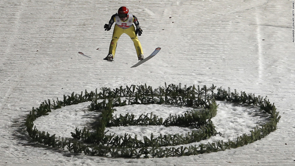 Germany's Andreas Wellinger jumps in Sunday's competition.
