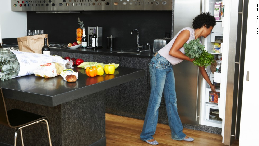 "<strong>1. Give your fridge a makeover.</strong> Let's start in the kitchen. The first thing to do is toss or give away any ""trigger foods,"" Rost says. (Yes, that means the raw cookie dough you find yourself eating at 2 a.m.) Next, move fruits, vegetables and lean protein to a shelf at eye level. Put less healthy foods farther down or in the back where they're difficult to spot. Finished? Tackle your pantry with the same tips in mind."