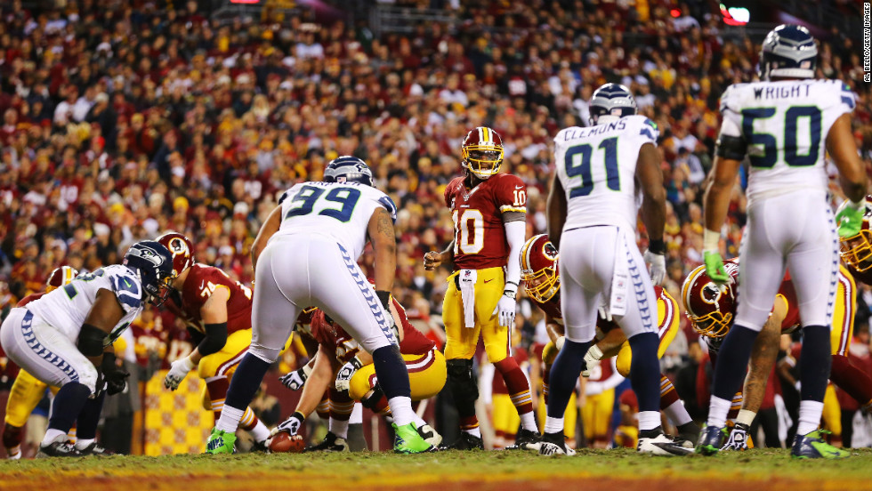 Robert Griffin III and the Washington Redskins line up against the Seattle Seahawks on Sunday.